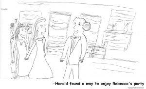 Harold at party